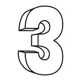 Figure number three icon. Illustraction design image Royalty Free Stock Images