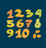 Figure numbers lettering vector illustration. Bright summer letters for childish header, invitation, card Royalty Free Stock Photo