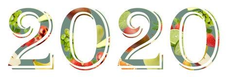 Figure nuovo anno 2020 su un fondo bianco decorato con la composizione nella frutta fotografie stock