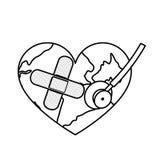 figure o coração do planeta da terra com ícone do estetoscópio e do curativo Fotos de Stock