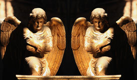 Figure Of A Gold Praying Angels Royalty Free Stock Images