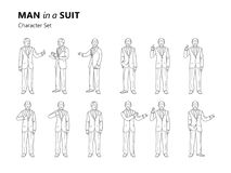 Figure of an old man in a suit is standing. Different gestures. Set Stock Image