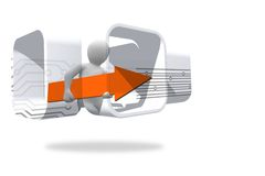 Figure with orange arrow on abstract screen Royalty Free Stock Photography