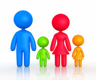 Figure of parents and children standing. 3d rendering of family silhouette on white background Royalty Free Stock Image