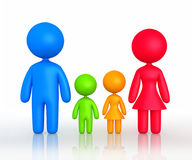 Figure of parents and children standing. 3d rendering of family silhouette on white background Royalty Free Stock Images