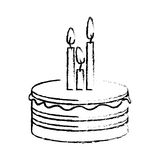 Figure party cake with canddles icon Stock Images