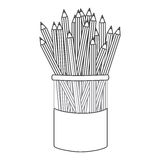 Figure pencils color inside the butter jar icon Stock Images
