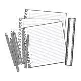 Figure pencils color, notebook and rule icon Royalty Free Stock Photos
