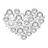 Figure people together inside the heart icon Royalty Free Stock Images