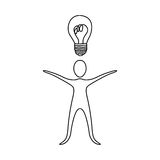 Figure person that have a good idea icon. Illustraction design Stock Photo