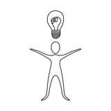 Figure person that have a good idea icon Stock Photo