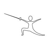 Figure person practicing fencing. Icon,  illustraction design image Royalty Free Stock Photos