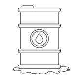 Figure petroleum of barrel with spilled oil. Illustration design Stock Image