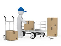 Figure pick up package. Figure pick up a package from trolley Royalty Free Stock Image