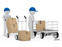 Figure pick up a package. From trolley Royalty Free Stock Images