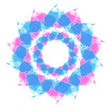Figure pink and blue color. Pattern mandala round shape with rays, pink and blue isolated on white Stock Photos