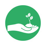 Figure plants conservancy with hands image. Illustration Royalty Free Stock Photography