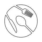 Figure plate with cutlery icon image Stock Photos