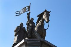 The monument to Prince Vladimir and Saint Fedor in Vladimir city, Russia stock images
