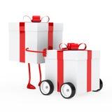 Figure push gift box. Christmas red figure push gift box vehicle Stock Photography