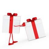 Figure push gift box. Christmas red white figure push gift box Royalty Free Stock Photography