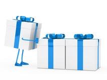 Figure push gift boxes. Christmas blue white figure push gift boxes Stock Photo