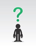 Figure Question Mark. Figure with floating question mark above head Stock Image