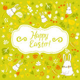 Figure rabbit. Postcard with Easter bunny. Background. Pattern. Nature. Beautiful flowers Stock Photography