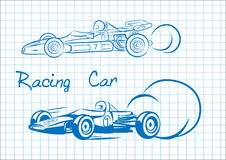 Figure racing car. Racing car on notebook sheet Stock Photos