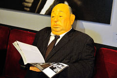 A figure in real size of Alfred Hitchcock, the famous English film director and producer Stock Image