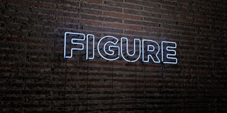 FIGURE -Realistic Neon Sign on Brick Wall background - 3D rendered royalty free stock image Royalty Free Stock Image