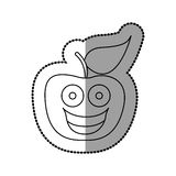 Figure red kawaii fruit apple happy icon Royalty Free Stock Images