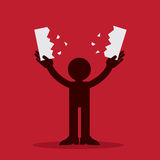 Figure Ripping Paper. Silhouette figure ripping piece of paper in half Royalty Free Stock Images