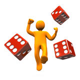 Figure rolling the dice. A yellow figure rolling the dice or die Stock Images