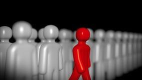 Figure rouge faisant un pas en avant, à la différence de Grey Ones rendu 3d illustration de vecteur