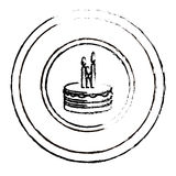 Figure round emblem with party cake icon Stock Photography