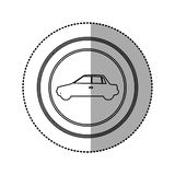 Figure round emblem side car icon Stock Image