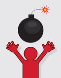 Figure Running From Bomb. Red silhouette figure running from lit bomb Royalty Free Stock Photo