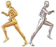 Figure of a running man. Gold and silver Royalty Free Stock Images