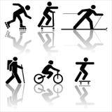 Figure s'exerçant augmentant le ski Images libres de droits