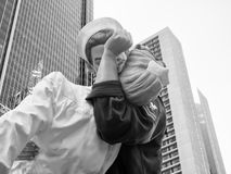 Figure of a sailor kissing a nurse at Times Square in New York royalty free stock image
