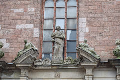 The figure of the Saint Peter on the wall of Saint Peters church in the Old Riga Royalty Free Stock Photography