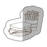 Figure sandwich with fries french icon Stock Photography