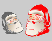 The figure of Santa Claus. Illustration of a head silhouette with shadow, cheerful,smiling Santa Claus painted in red and grey colors Stock Images
