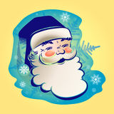 The figure of Santa Claus. Pattern Jolly Santa Claus on blue background with snowflakes Stock Photo