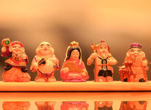 Figure scolpite legno giapponese Fotografia Stock Libera da Diritti