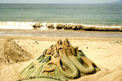 Figure sculpted in sabbia Immagini Stock Libere da Diritti