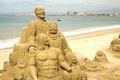 Figure sculpted in sabbia Fotografie Stock