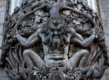 Figure of a sea monster in a wall at the Palacio da Pena, Sintra. Carved stone figure of a sea monster in a wall at the Palacio da Pena, Sintra, Portugal. Pena Stock Image