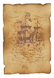 Figure of the ship. On an old sheet to a paper which has turned yellow from time Royalty Free Stock Image